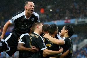 Leicester City routed Manchester City 3-0 in their battle for first place